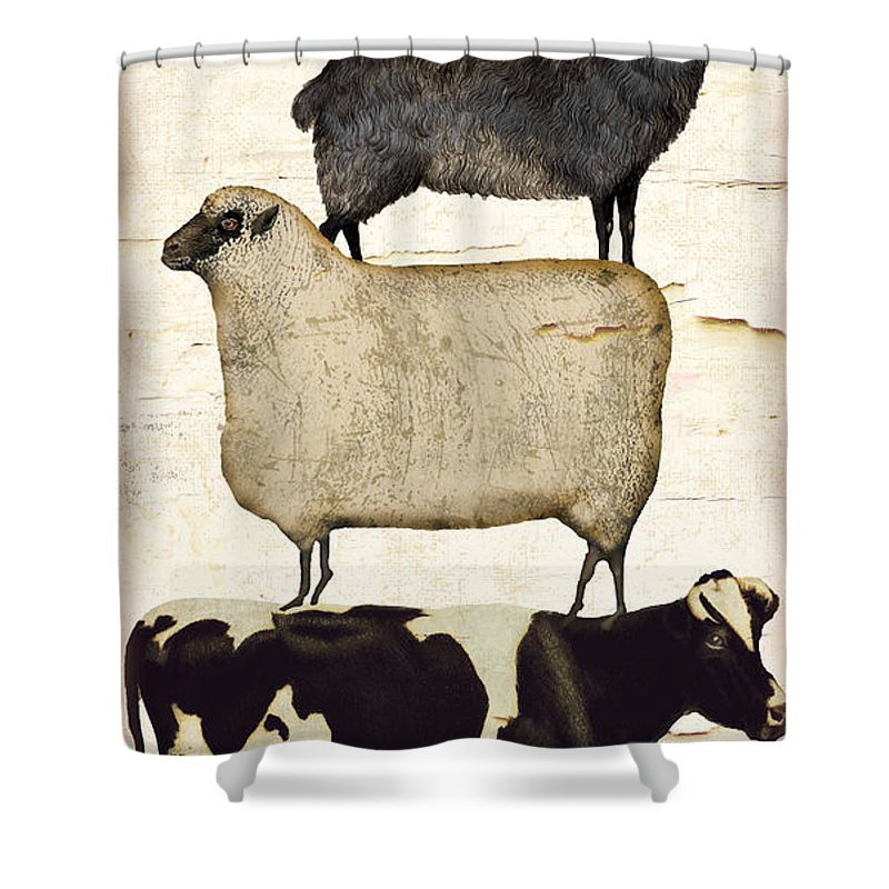 Rooster Shower Curtain Featuring The Painting Farm Animals Pileup By Mindy Sommers