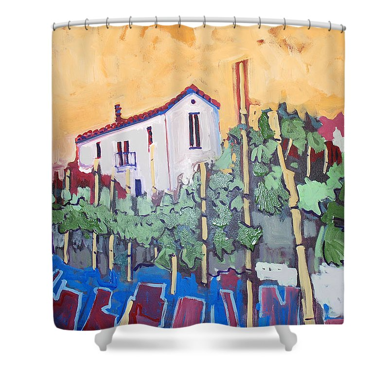 Farm House Shower Curtain featuring the painting Farm House by Kurt Hausmann