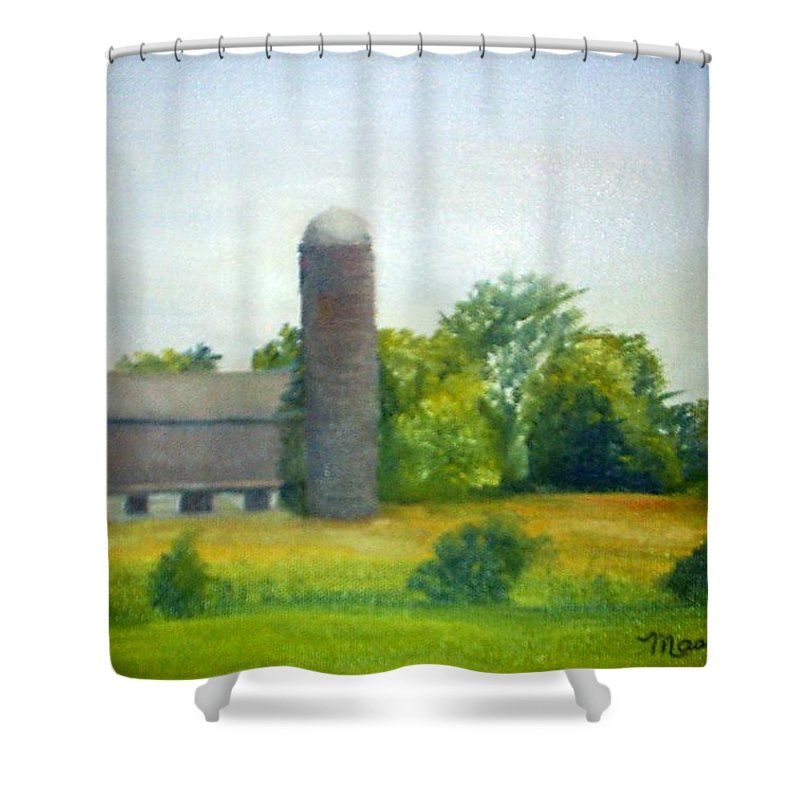 Farm Shower Curtain featuring the painting Farm In The Pine Barrens by Sheila Mashaw