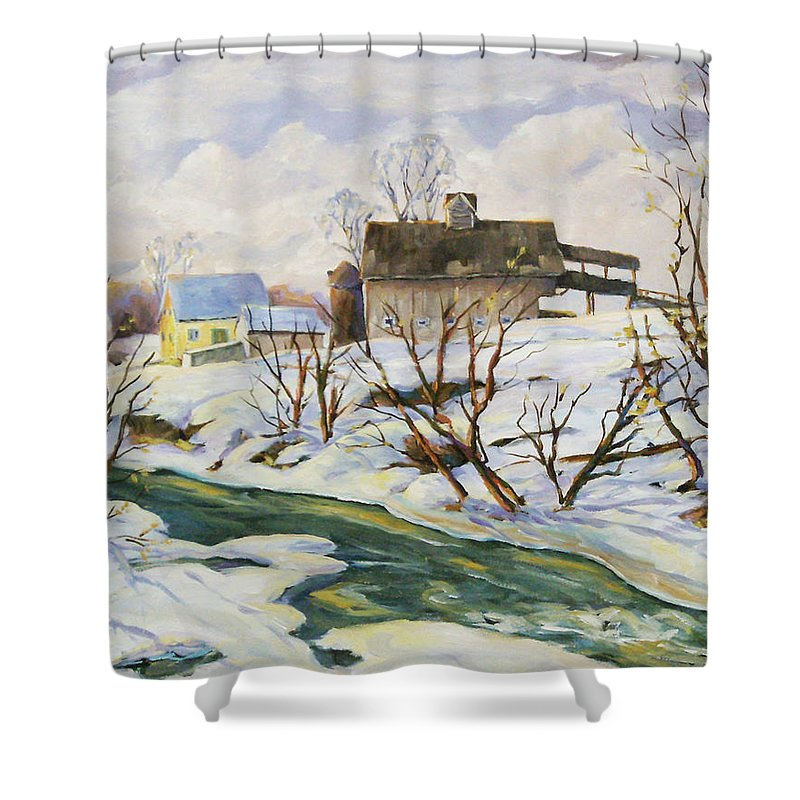 Farm Shower Curtain featuring the painting Farm In Winter by Richard T Pranke