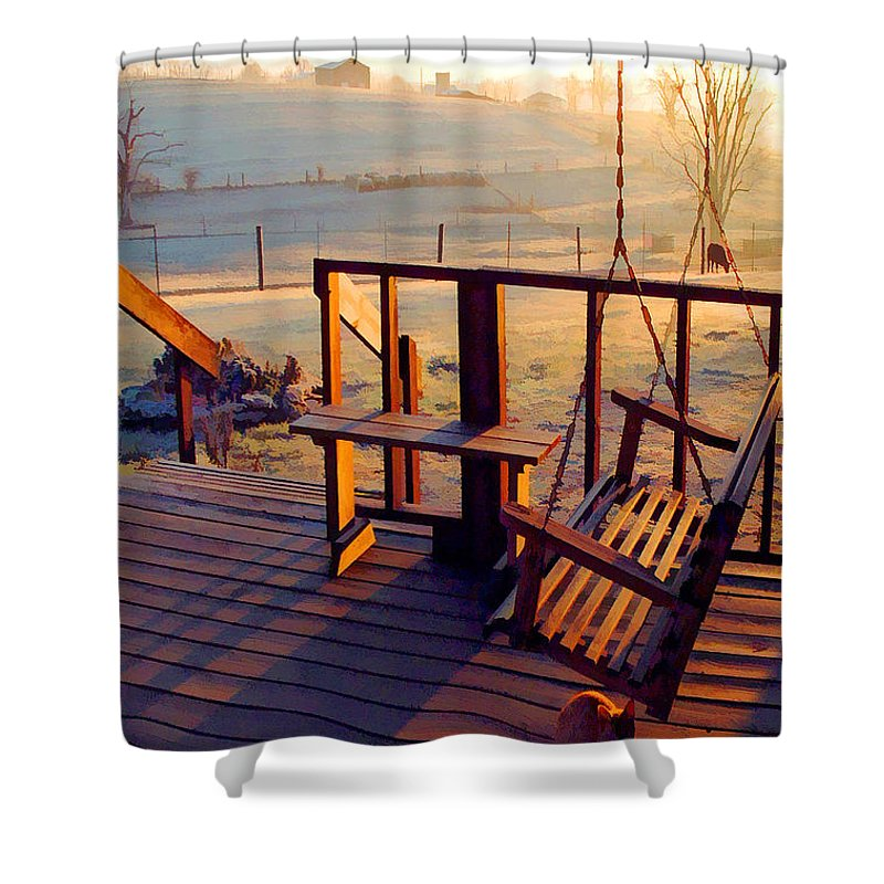 Farmlife Shower Curtain featuring the photograph Farm Porch Morning by Sam Davis Johnson