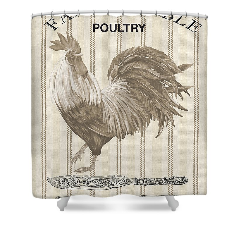 Poultry Shower Curtain featuring the digital art Farm To Table-jp2110 by Jean Plout