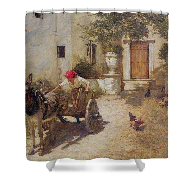 Farm Shower Curtain featuring the painting Farm Yard Scene by Henry Herbert La Thangue