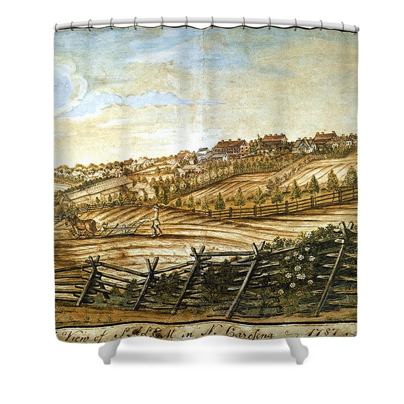 1787 Shower Curtain featuring the photograph Farmer Plowing by Granger