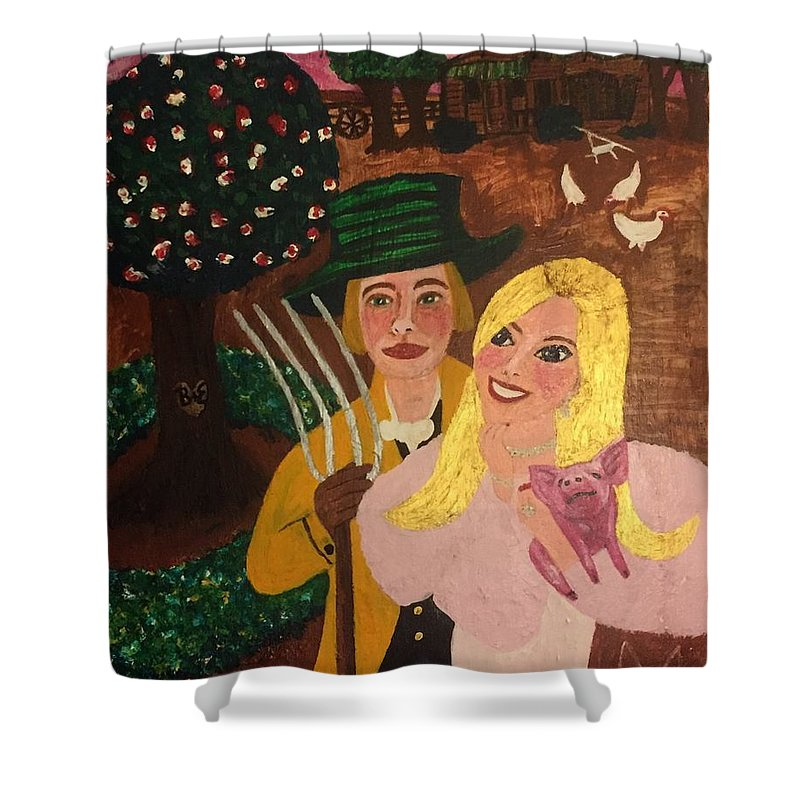 Shower Curtain featuring the painting Farmers by Brett Pedersen