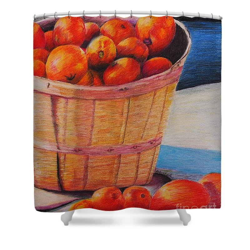 Produce In A Basket Shower Curtain featuring the drawing Farmers Market Produce by Nadine Rippelmeyer