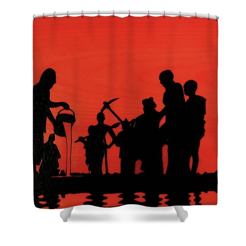 Wood Burning Shower Curtain featuring the drawing Farmers Night Out by Jack Harries
