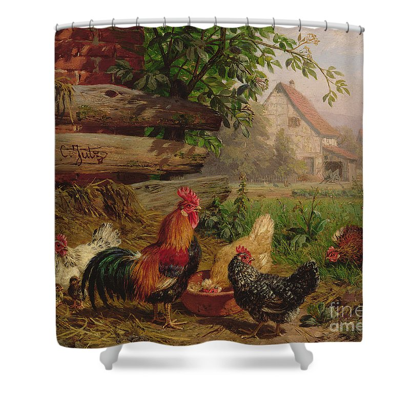 Chicken Shower Curtain featuring the painting Farmyard Chickens by Carl Jutz
