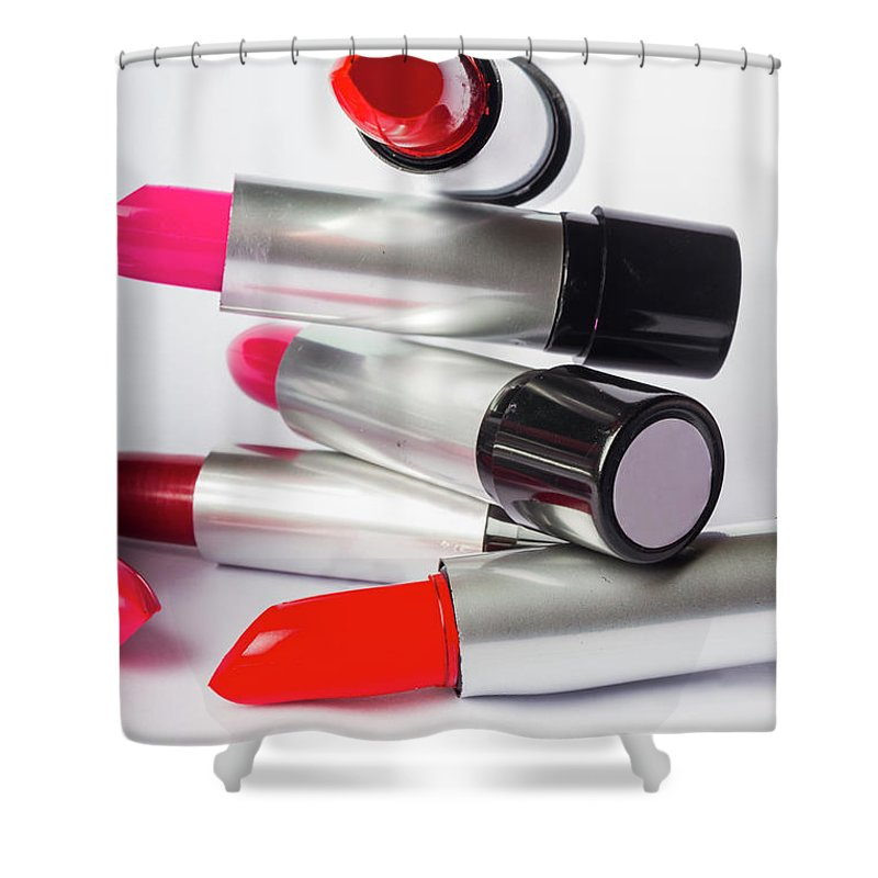 Make-up Shower Curtain featuring the photograph Fashion Model Lipstick by Jorgo Photography - Wall Art Gallery