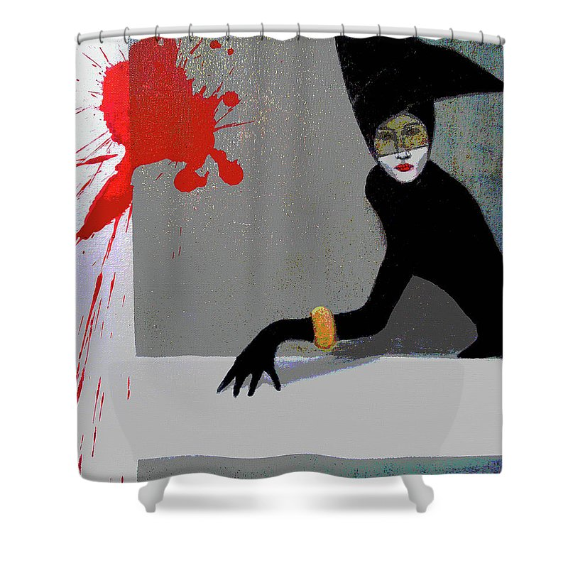 Abstract Shower Curtain featuring the painting Fashion Poster by Florentina Maria Popescu