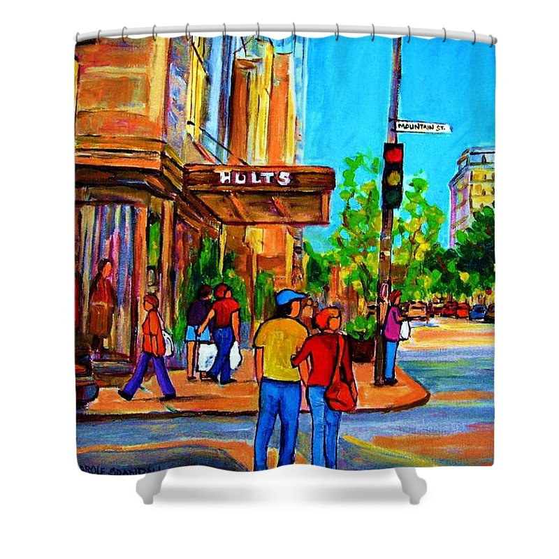 Holt Renfrew Shower Curtain featuring the painting Fashionable Holt Renfrew by Carole Spandau