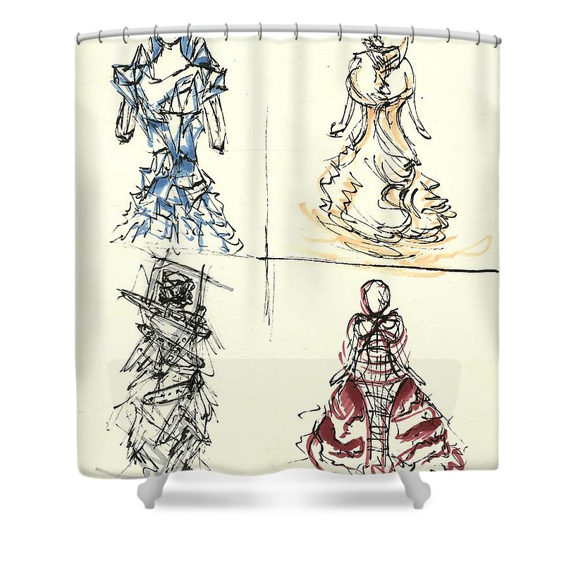 Fashion Illustration Shower Curtain featuring the drawing Fashionista 4 by Nadine Westerveld