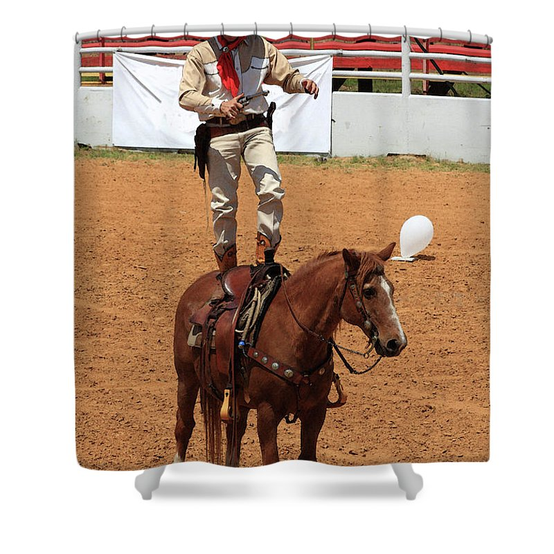 Western Art Shower Curtain featuring the photograph Fast Draw Cowboy by Kim Henderson