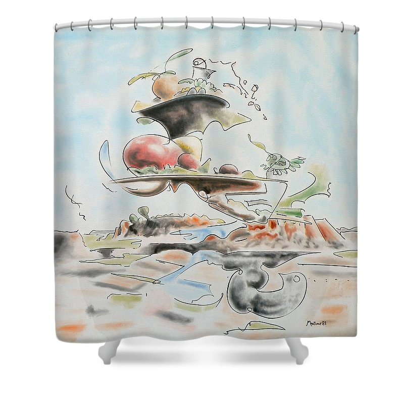 Abstract Shower Curtain featuring the painting Fast Food by Dave Martsolf