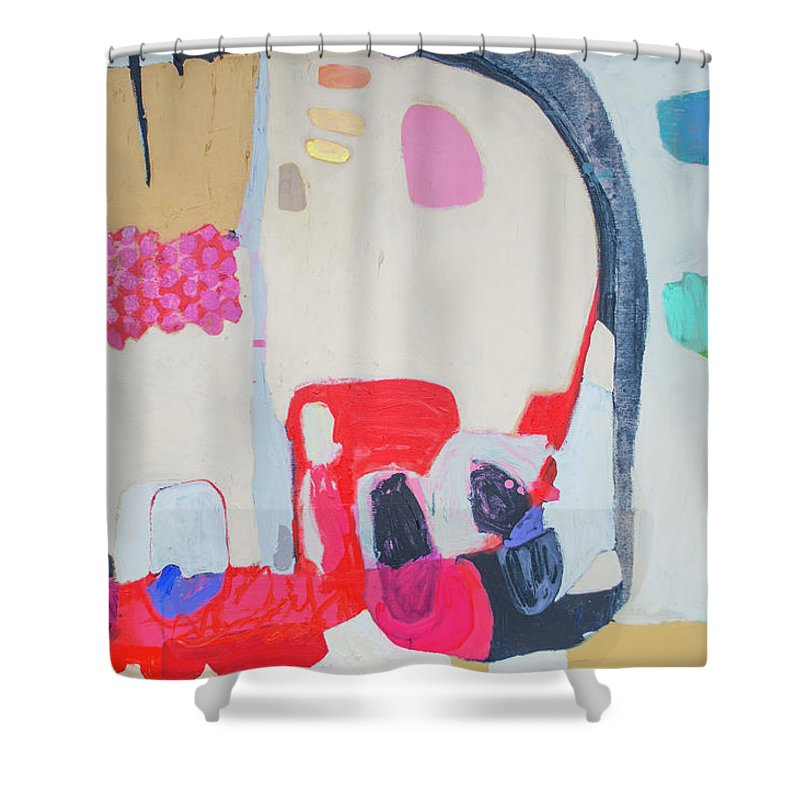 Abstract Shower Curtain featuring the painting Fast Friends by Claire Desjardins