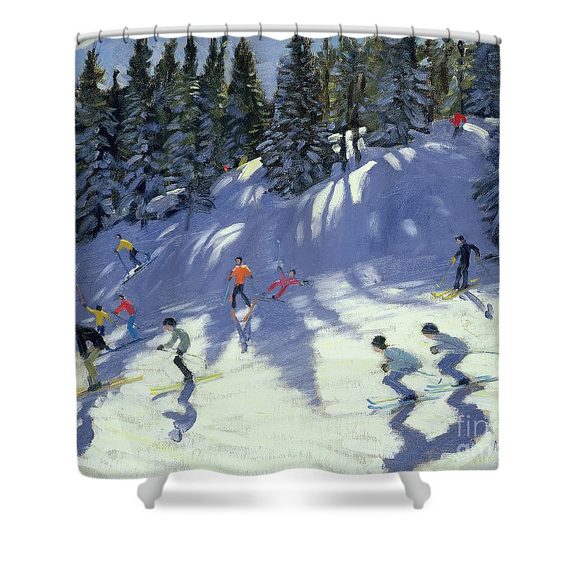 Skiers Shower Curtain featuring the painting Fast Run by Andrew Macara