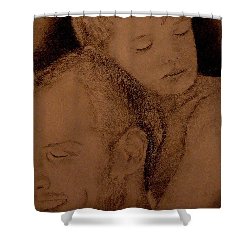 Portrait Shower Curtain featuring the painting Father And Son by Glory Fraulein Wolfe
