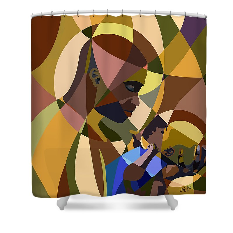 Man Shower Curtain featuring the painting Father And Son by James Mingo