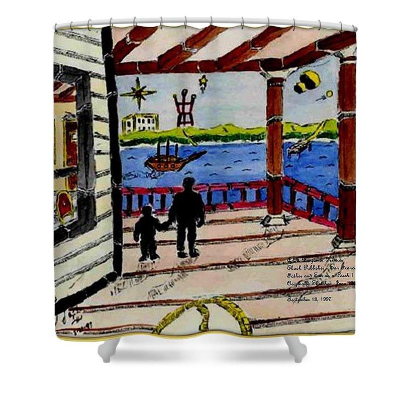 Boy Shower Curtain featuring the painting Father and son on the Porch by Anthony Benjamin