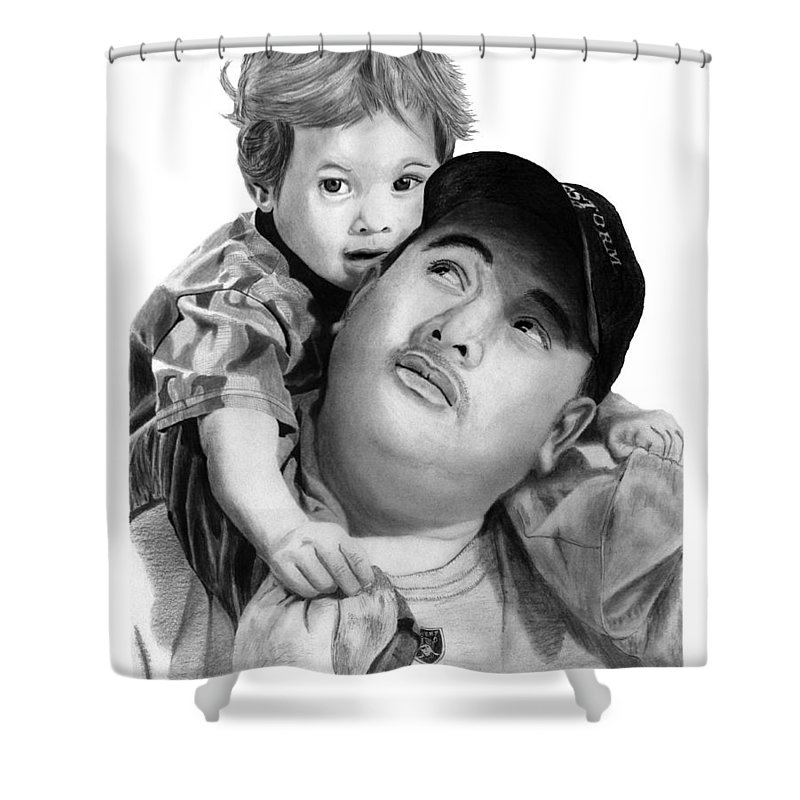 Father And Son Shower Curtain featuring the drawing Father And Son by Peter Piatt