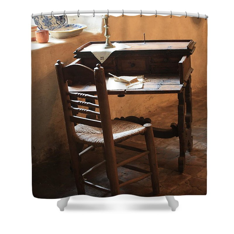 Carmel Mission Shower Curtain featuring the photograph Father Serra's Desk by Carol Groenen