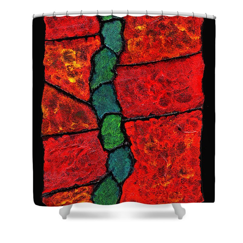 Abstract Shower Curtain featuring the painting Faux Tile Painting One by Wayne Potrafka