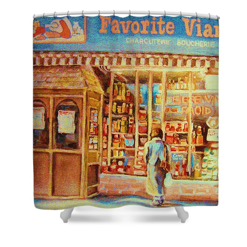 Markets Shower Curtain featuring the painting Favorite Viande Market by Carole Spandau