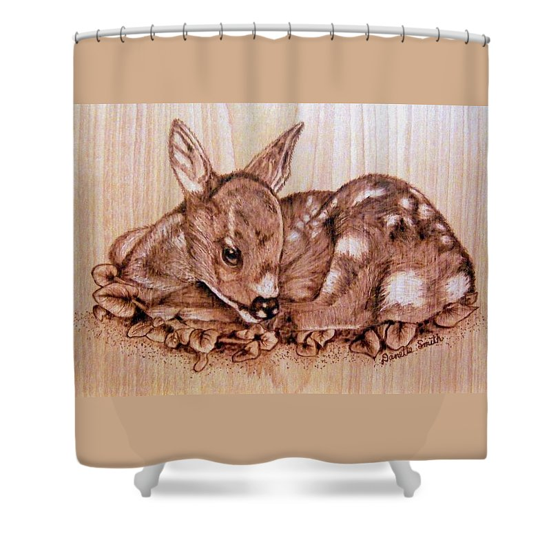 Pyrography Shower Curtain featuring the pyrography Fawn by Danette Smith