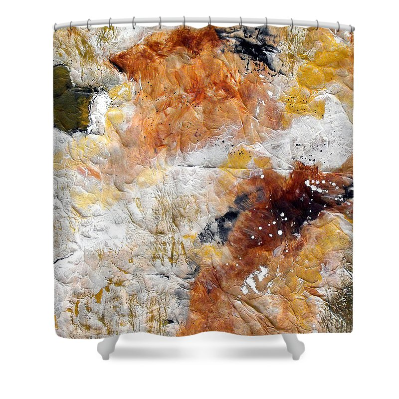 Abstract Shower Curtain featuring the painting Fear Of The Unknown Close-up by Ruth Palmer