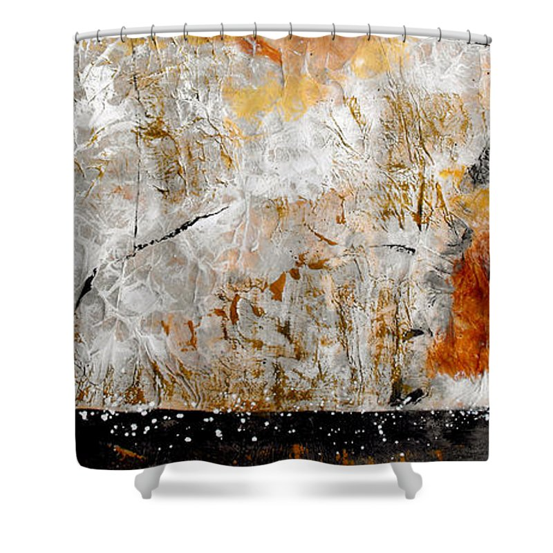 Abstract Shower Curtain featuring the painting Fear Of The Unknown by Ruth Palmer