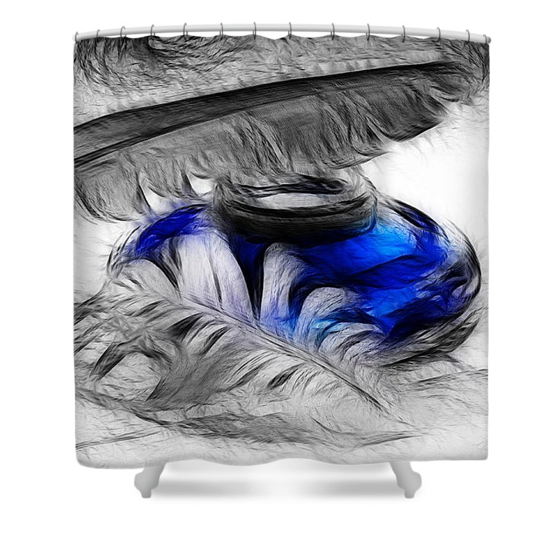 Pen Shower Curtain featuring the photograph Featherlight by Manfred Lutzius
