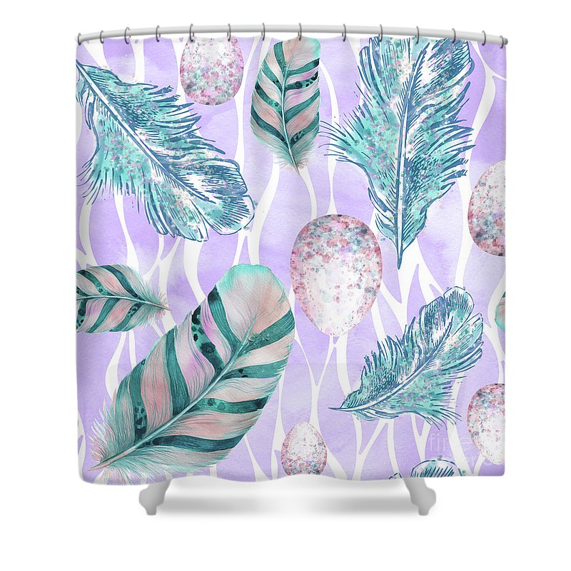 Feathers Shower Curtain featuring the painting Feathers And Spotted Bird Eggs Woodland Nature Pattern by Tina Lavoie