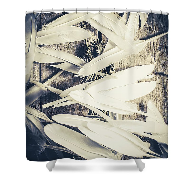 American Shower Curtain featuring the photograph Feathers Of Freedom And The Statue Of Liberty by Jorgo Photography - Wall Art Gallery