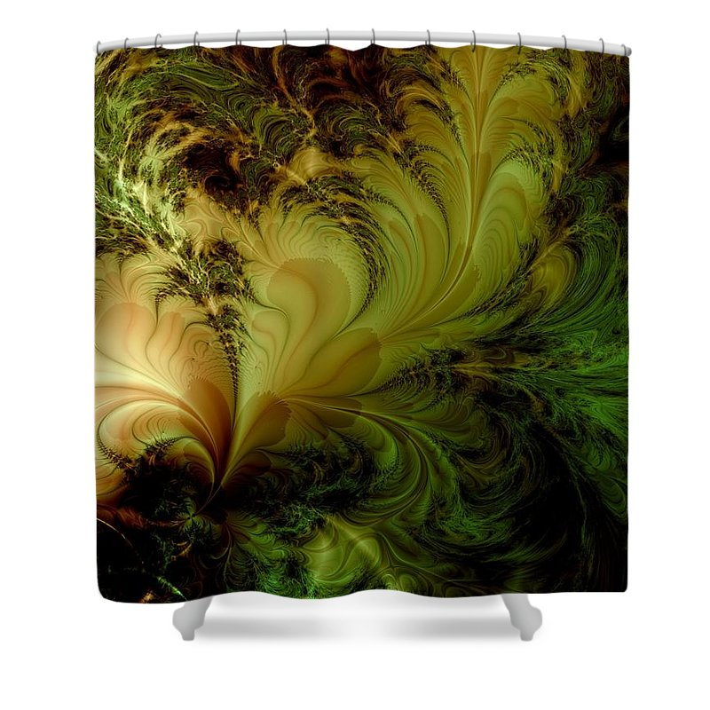Feather Shower Curtain featuring the digital art Feathery Fantasy by Casey Kotas