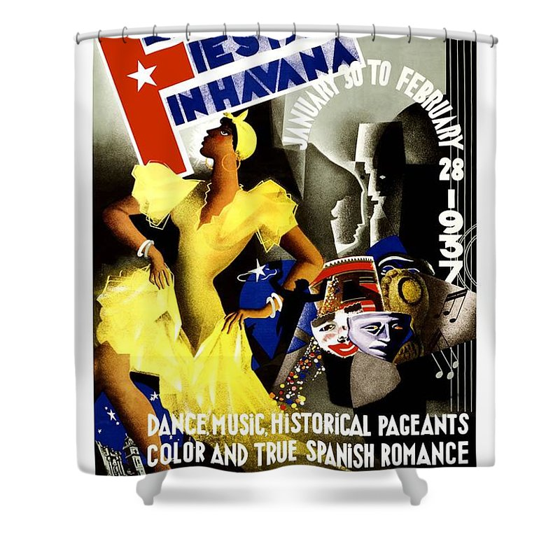February Fiestas In Havana Shower Curtain featuring the mixed media February Fiestas In Havana - Woman Dancing At Carnaval - Retro Travel Poster - Vintage Poster by Studio Grafiikka