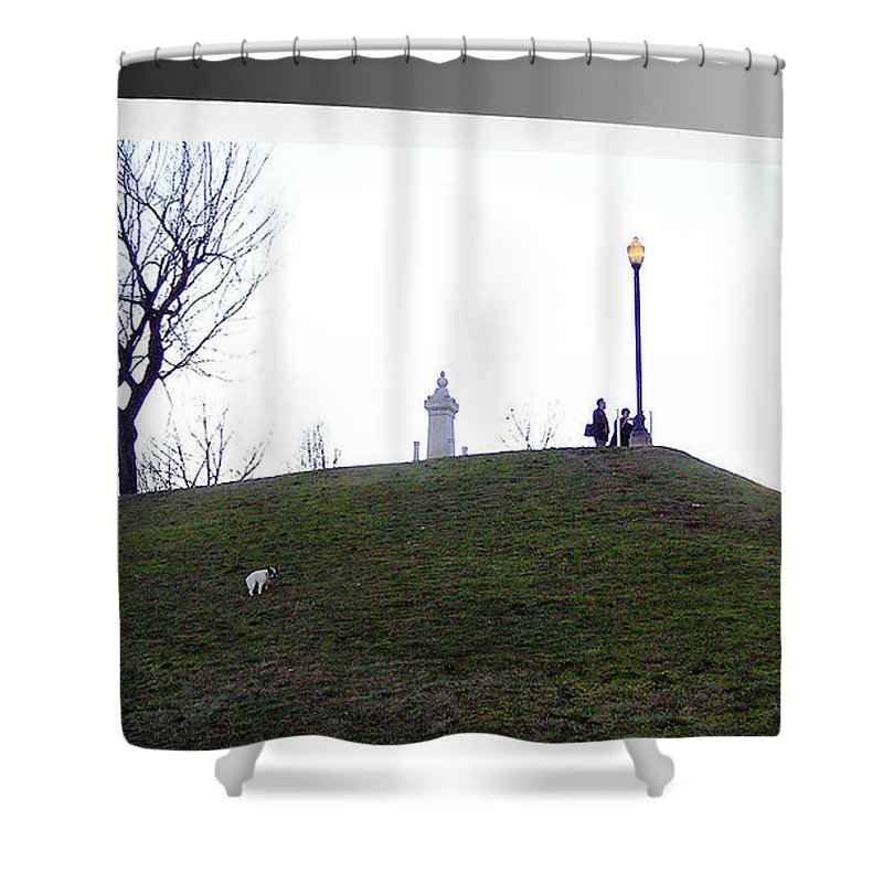 2d Shower Curtain featuring the photograph Federal Hill Dog by Brian Wallace