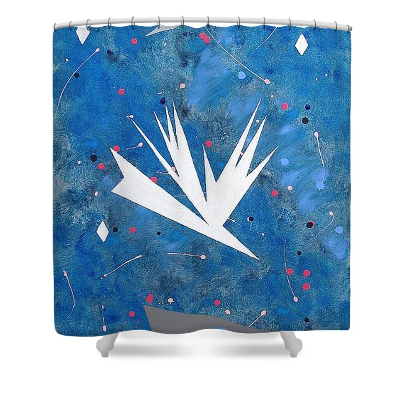 Birds And Diamond Stars Shower Curtain featuring the painting Feeding Frenzy by J R Seymour