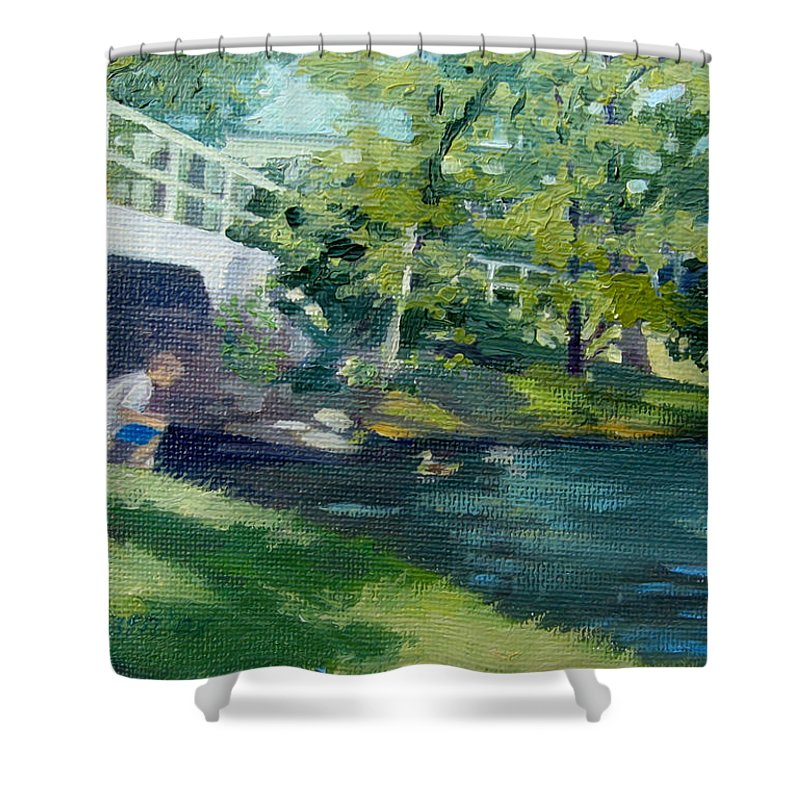 Pond At Bradford College Shower Curtain featuring the painting Feeding The Ducks by Leslie Alfred McGrath