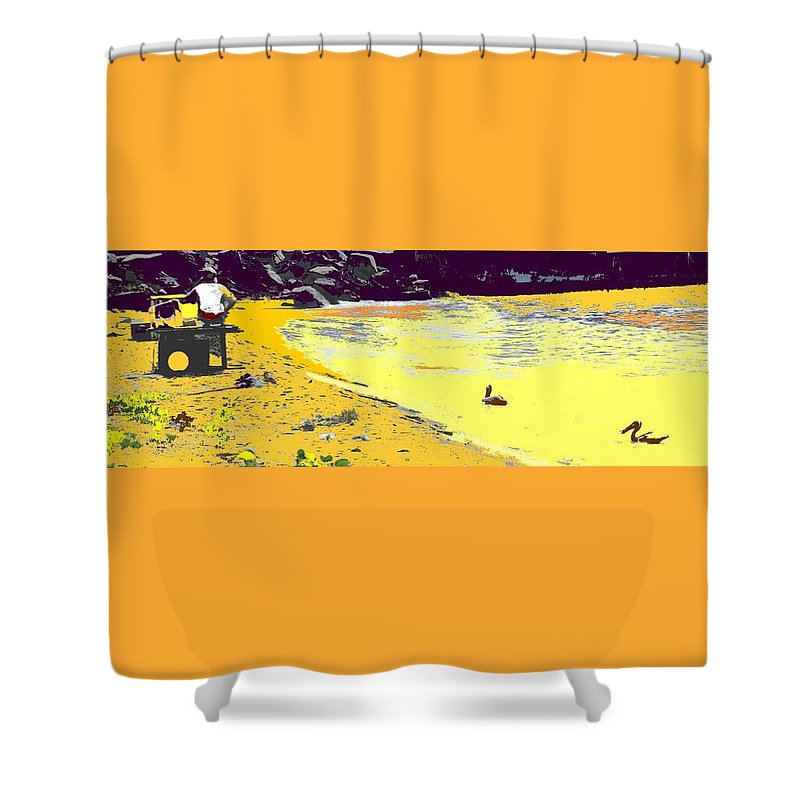 St Kitts Shower Curtain featuring the photograph Feeding The Pelicans by Ian MacDonald