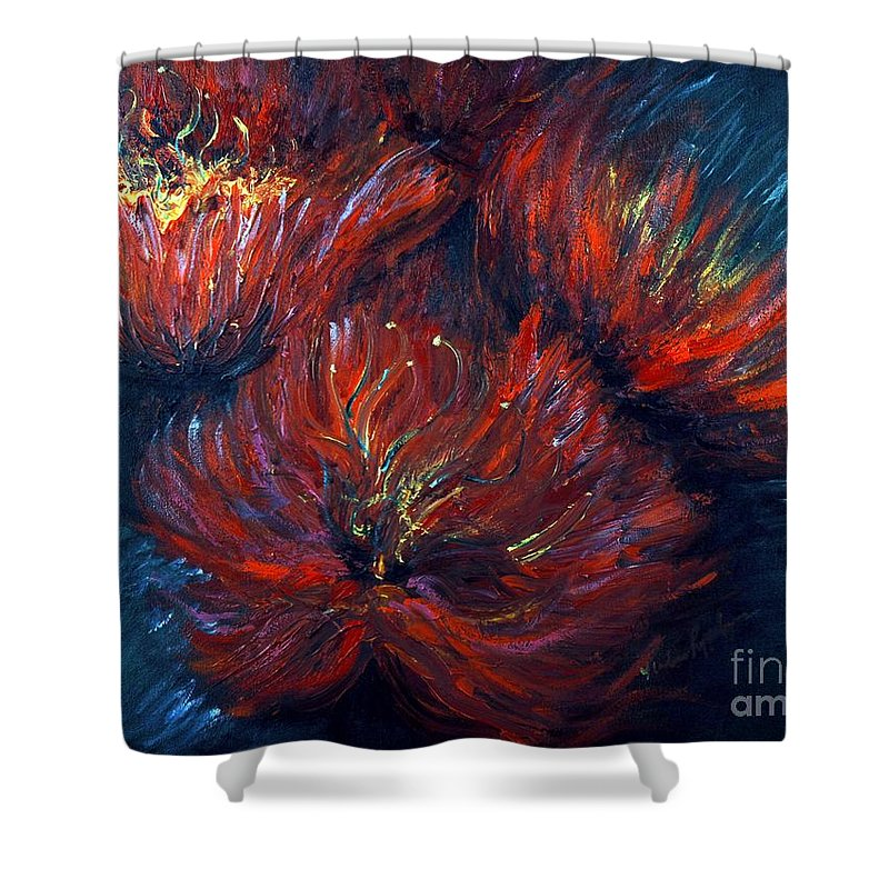 Abstract Shower Curtain featuring the painting Fellowship by Nadine Rippelmeyer