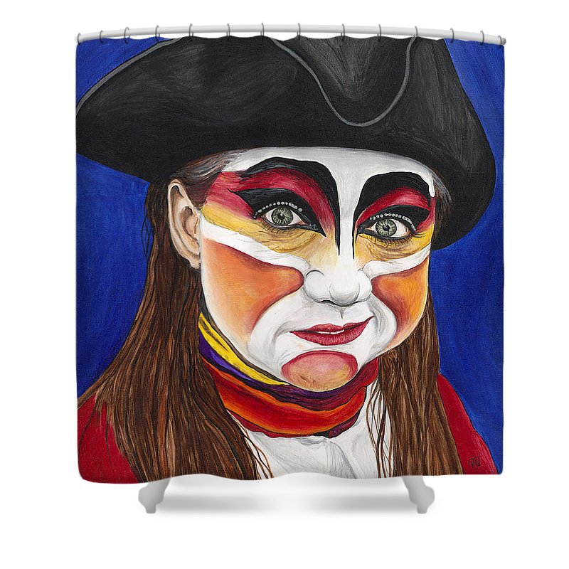 Pirate Shower Curtain featuring the painting Female Carnival Pirate by Patty Vicknair