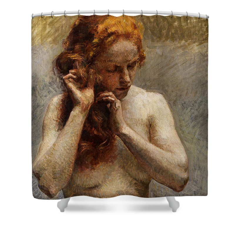 Vlaho Bukovac Shower Curtain featuring the painting Female Nude with Red Hair by Vlaho Bukovac