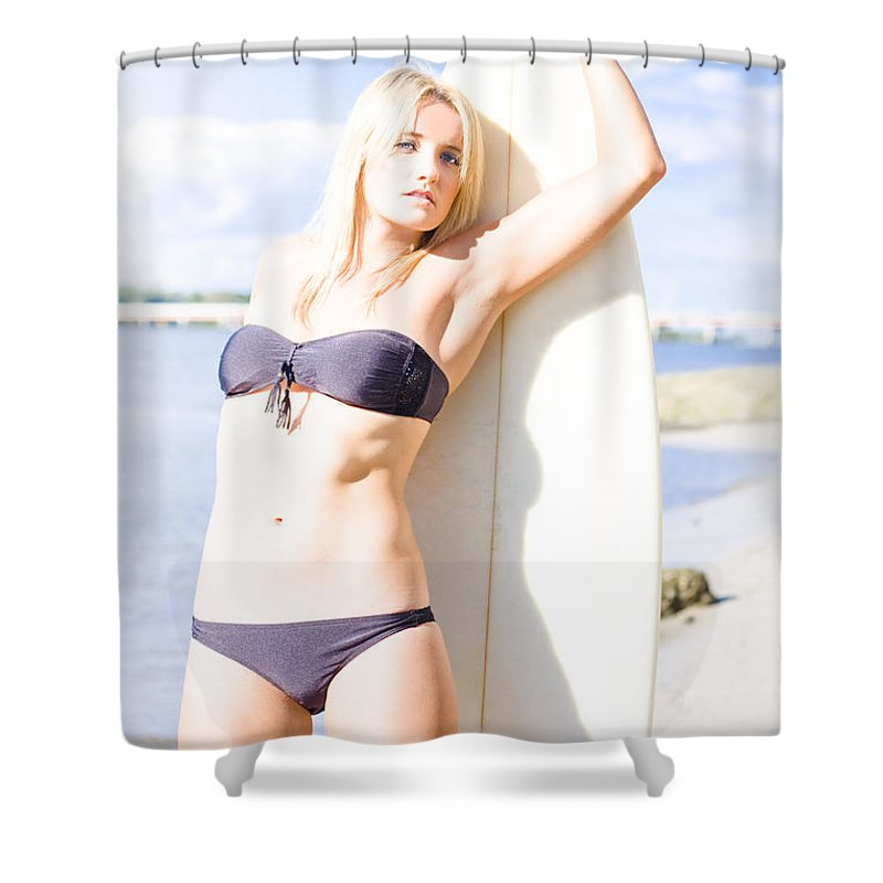 Bright Shower Curtain featuring the photograph Female Surfer In Sun With Surf Board by Jorgo Photography - Wall Art Gallery