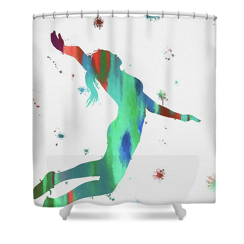 Female Volleyball Player Shower Curtain featuring the painting Female Volleyball Player by Dan Sproul