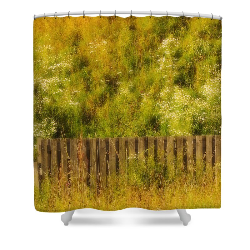 Wildflowers Shower Curtain featuring the photograph Fence And Hillside Of Wildflowers On Suomenlinna Island In Finland by Greg Matchick