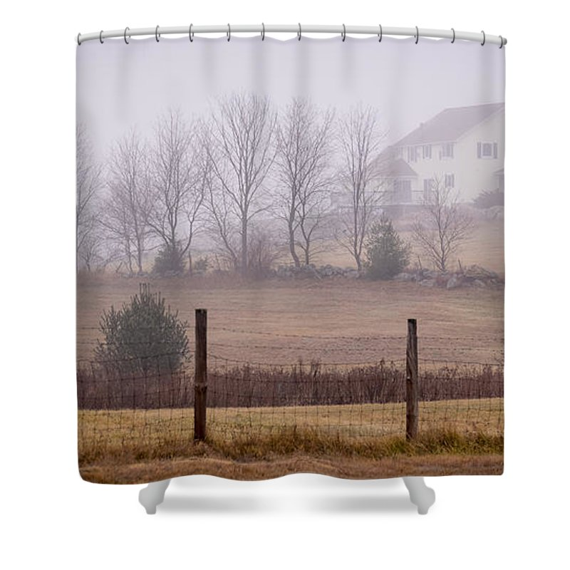 Fence Shower Curtain featuring the photograph Fence Field And Fog by Diane Moore
