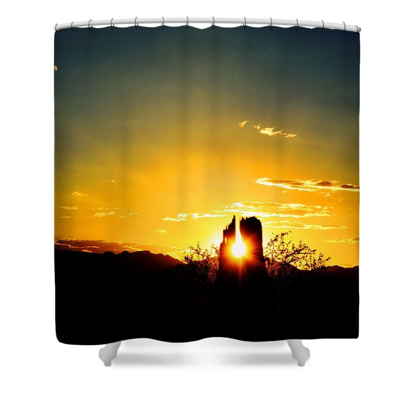 Sunset Shower Curtain featuring the photograph Fence Post Sunset by Brent Hall