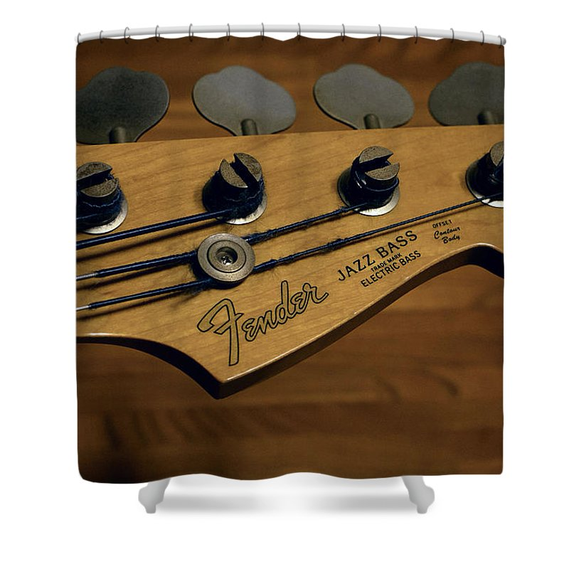 Fender Shower Curtain Featuring The Photograph Bass Guitar Head By Daniel Hagerman