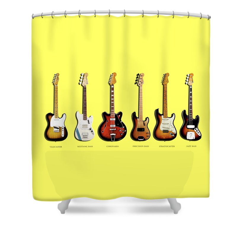 Fender Stratocaster Shower Curtain featuring the photograph Fender Guitar Collection by Mark Rogan