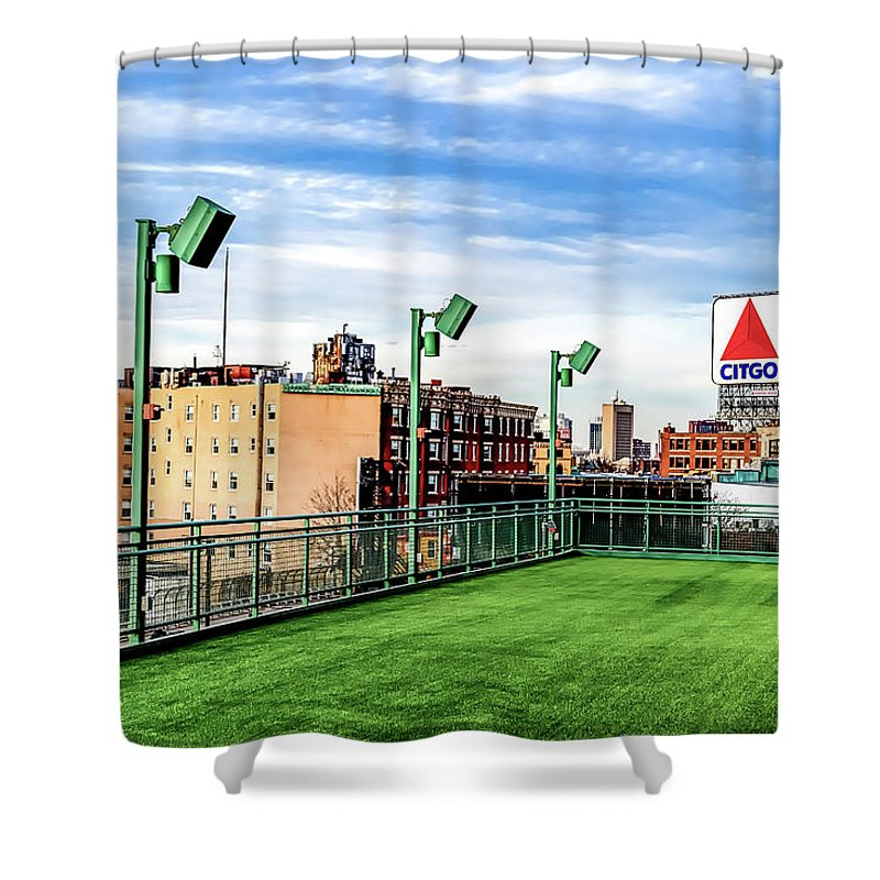 Fenway Shower Curtain featuring the photograph Fenway Citgo by Joseph Caban